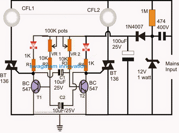 220V Alternate Lamp Flasher Circuit