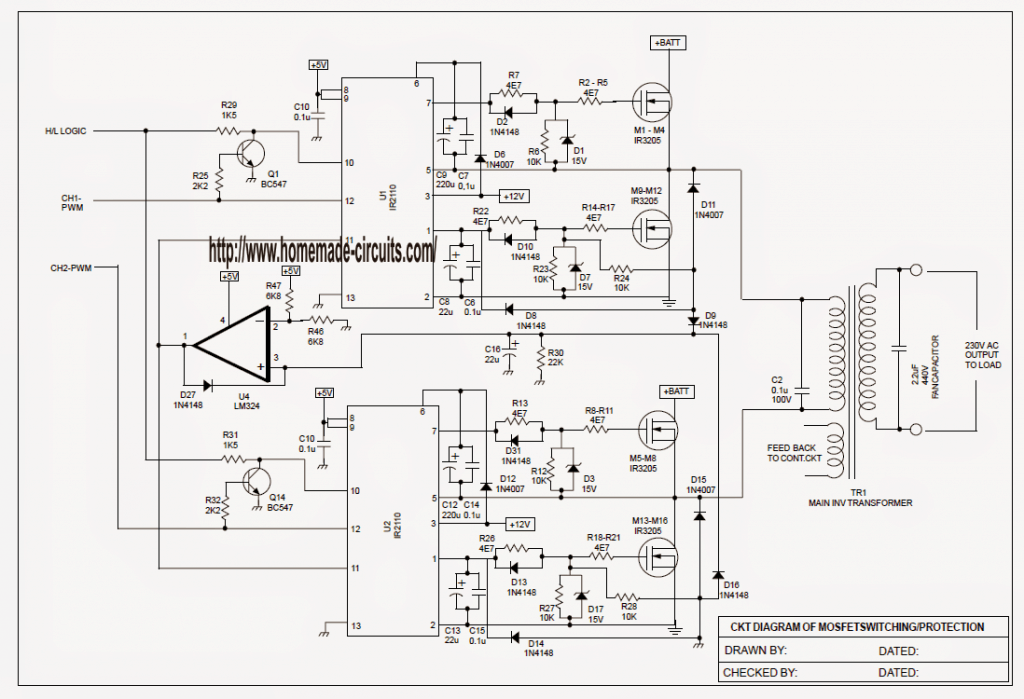 sinewave ups circuit using pic16f72 part 2 rh homemade circuits com MOS FET 12V LED Circuit Amplifier Circuit