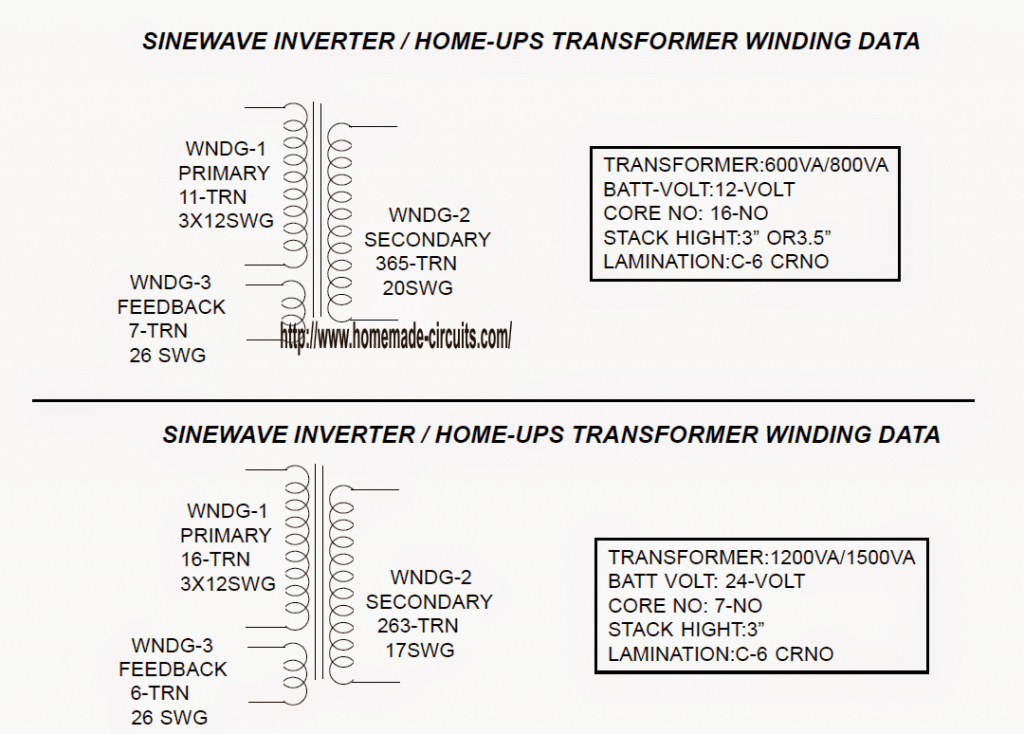 Sinewave Ups Using Pic16f72 Free Circuit Download Homemade Watts Pure Sine Wave Inverter Projects The Following Data Supplies Full Transformer Winding Details