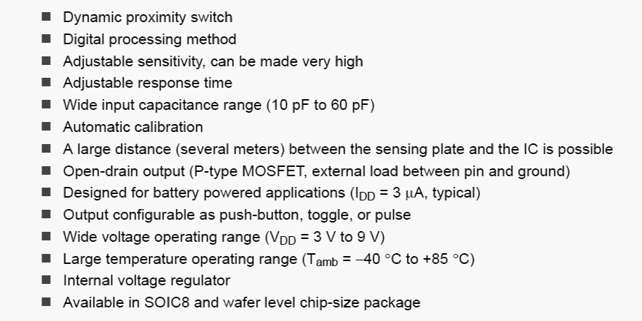 IC PCF8883 features of this specialized capacitive touch and proximity sensor