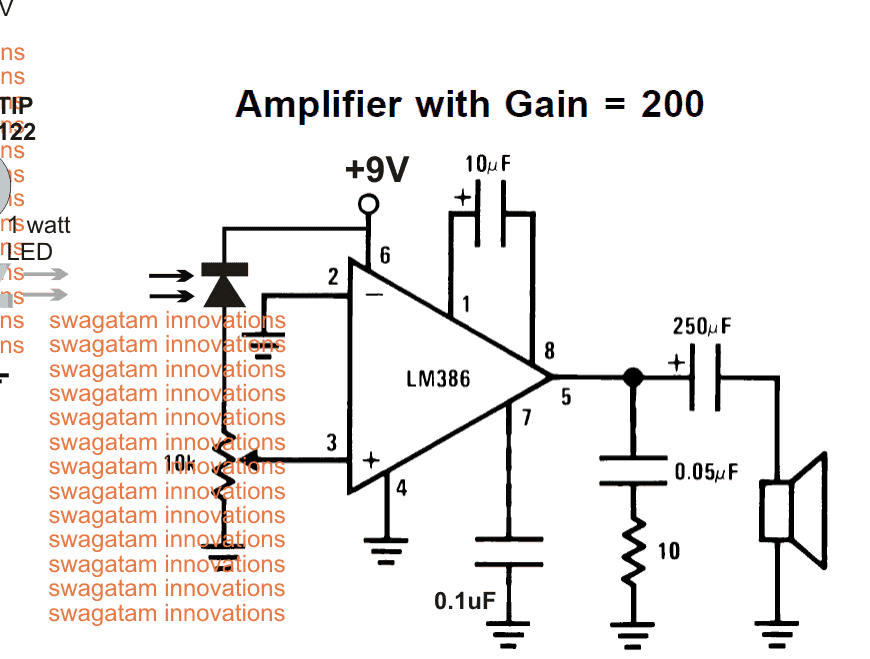 Li-Fi circuit using a photodiode