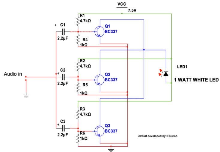 LiFi circuit using two transistors only