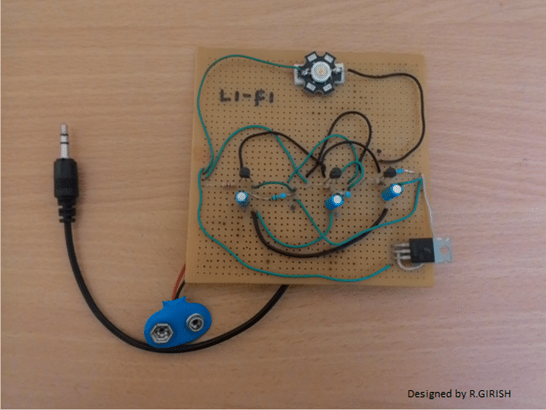 Tested prototype of the Li-Fi Circuit