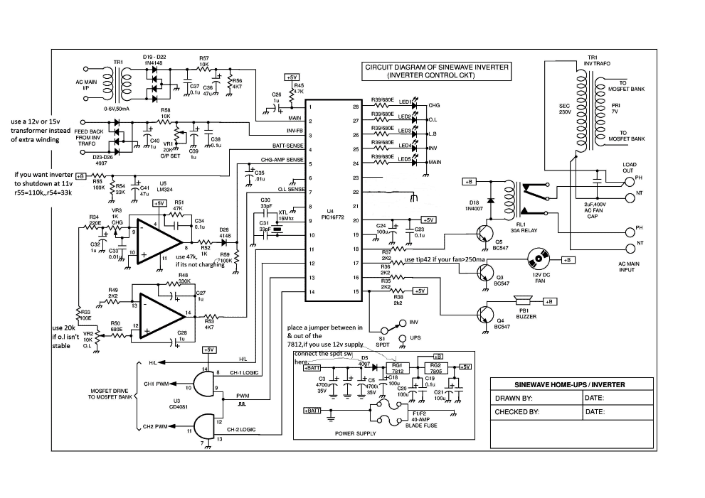 sinewave ups using pic16f72 free circuit download homemade rh homemade circuits com