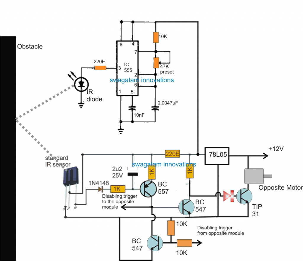 obstacle avoiding robot circuit without microcontroller