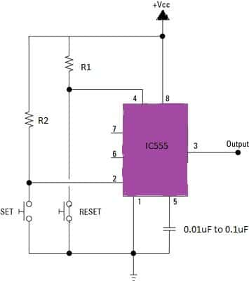 Simple Bistable Circuit Using IC 555