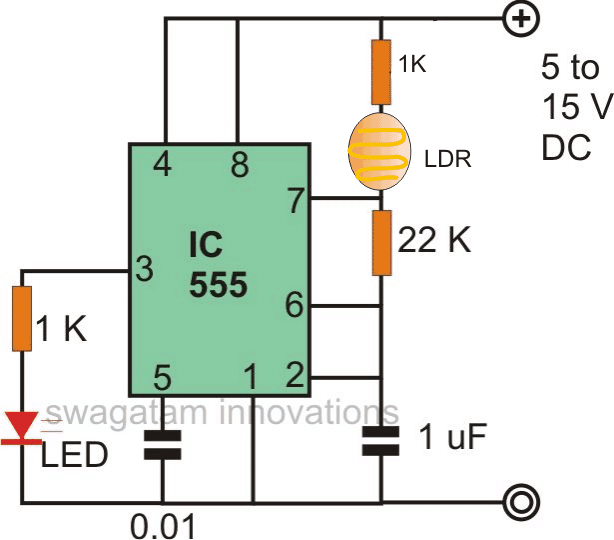 Light to frequency converter using IC 555