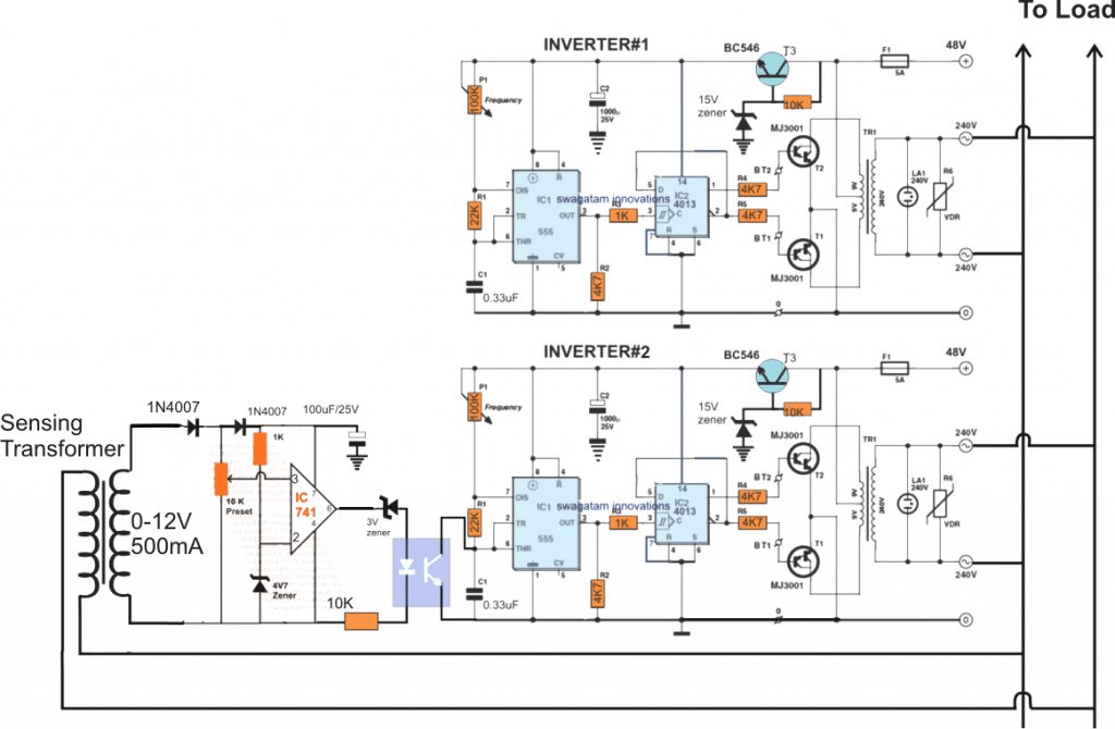 Inveter Diagram For Wire Data Schema Inverter Wiring Saturnfans Photo Forums Synchronized 4kva Stackable Circuit Part 1 Car Power Using Ic4047 And Two Mosfet