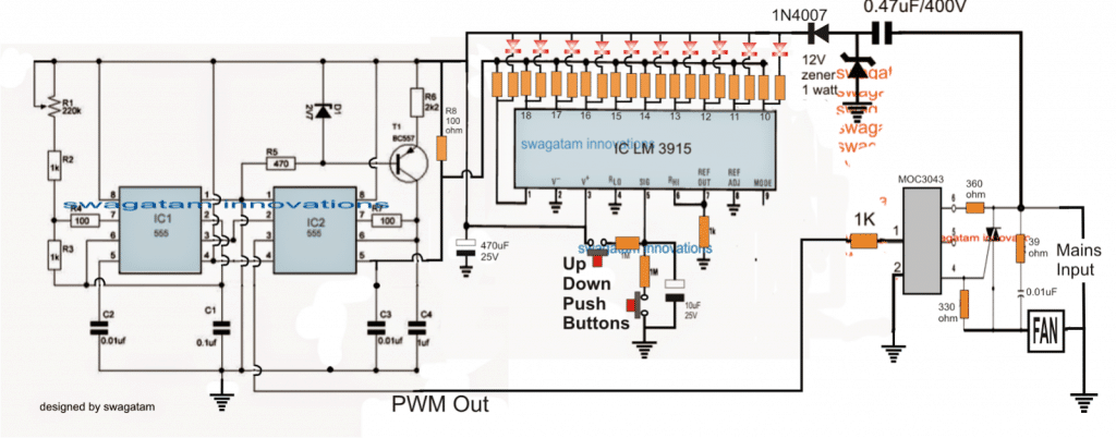 Push Button Fan Regulator Circuit with Display