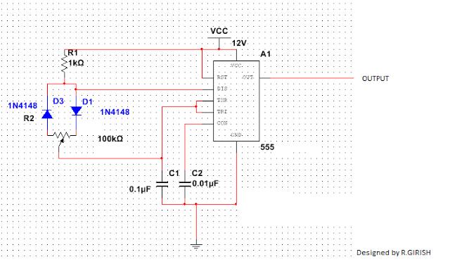 Simple PWM Circuit Using IC 555