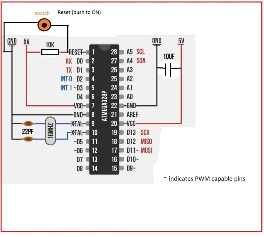 how to make arduino on breadboard  stepstep