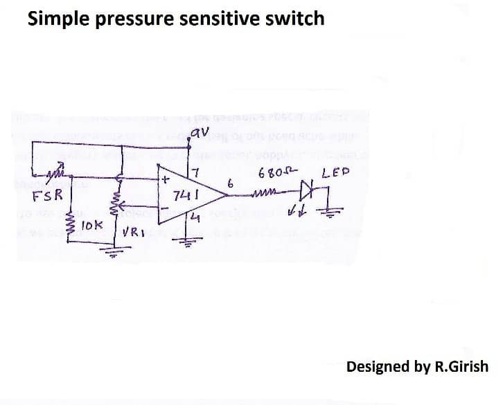 pressure sensitive switch by paring FSR with op-amp