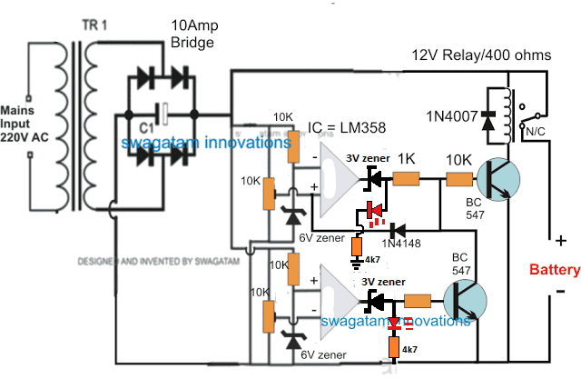 Opamp low high battery charger homemade circuit projects another alternative design for making an automatic overunder charge cut off battery charger circuit using two opamps can be seen below publicscrutiny Gallery