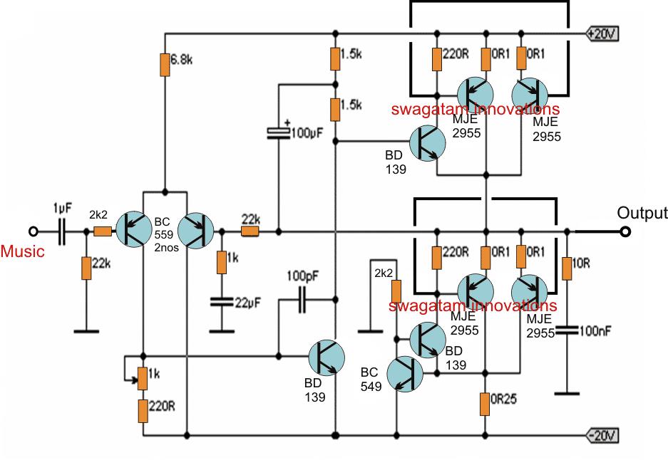 Simple 20 watt Amplifier Circuit