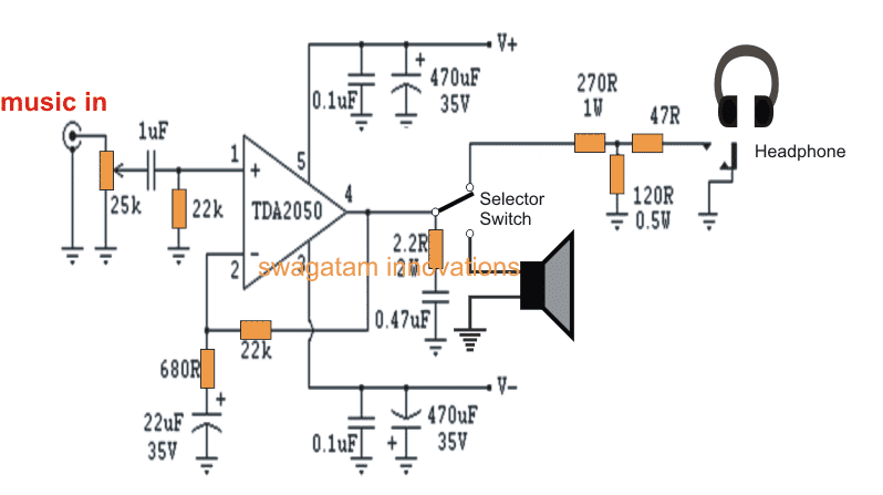 headphone amplifier  Circuit using TDA2050