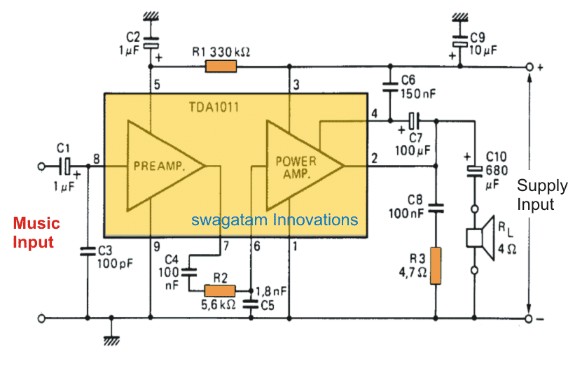6 watt Audio Amplifier Circuit Using TDA1011