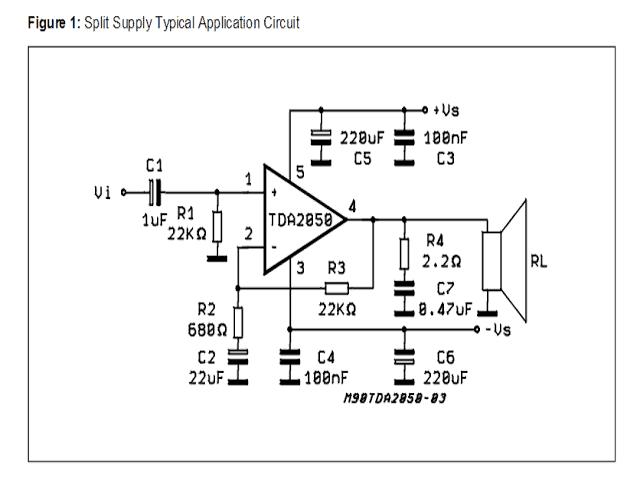 32 watt Amplifier Circuit using TDA2050