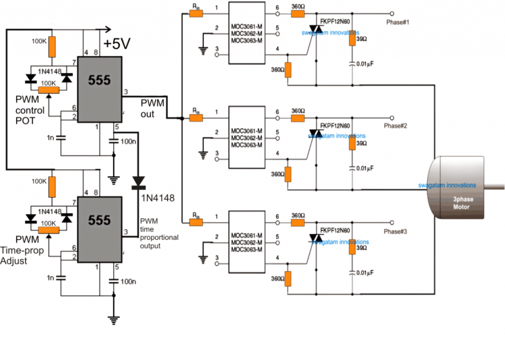 induction motor speed control circuit using zero crossing detector opto couplers