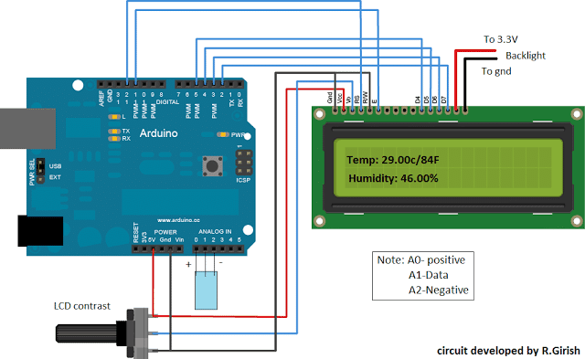 Digital Temperature, Humidity Meter Circuit using Arduino
