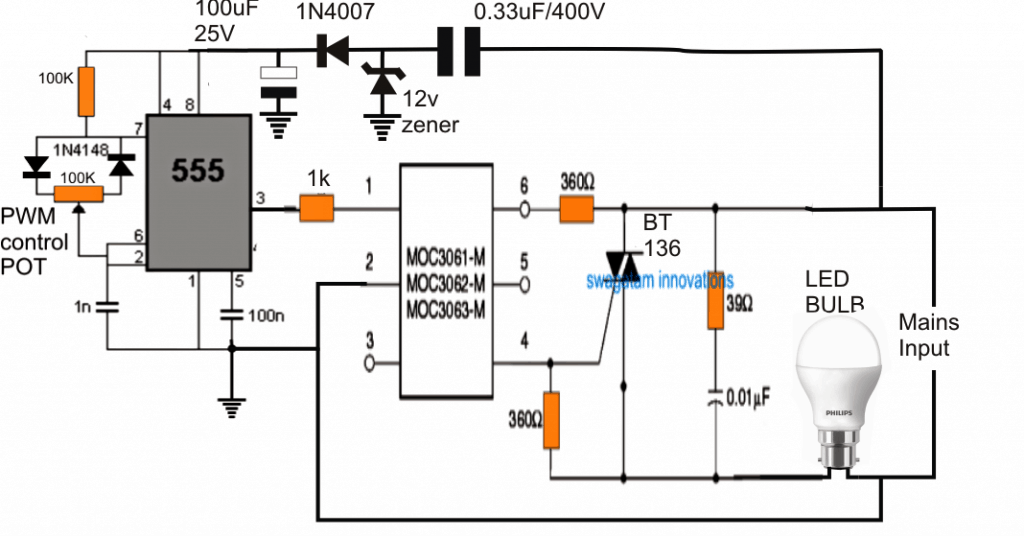 230v led dimmer circuit diagram