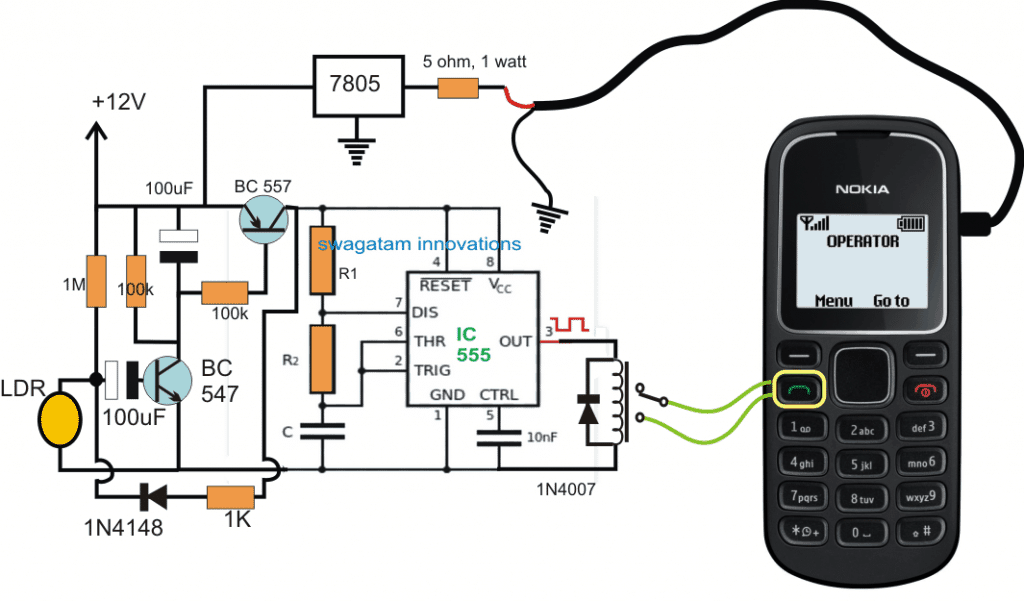 Laser Activated GSM Call Alert Security Circuit