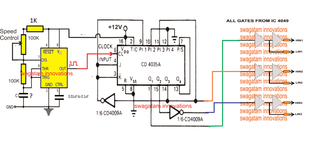 here we can see a 3-phase generator circuit using ic 4035 whose phase shift  frequency can be varied by varying the clock input at its pin#6