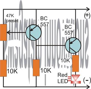 Battery Full Indicator Circuit using Two Transistors