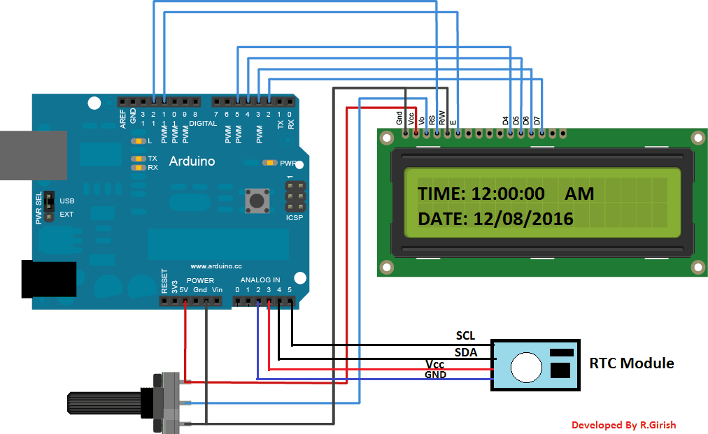 Arduino digital clock using rtc module homemade circuit