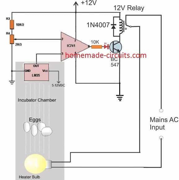 simple LM35 incubator temperature control circuit
