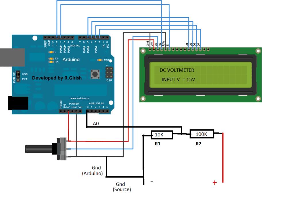 Arduino based DC Voltmeter Circuit