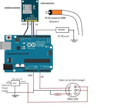 LPG Leakage SMS Alert Circuit using Arduino and MQ-135