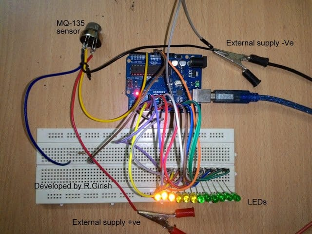 Tested Prototype LED Air Pollution Meter Circuit with Arduino