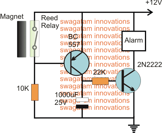 Magnetic Door Security Alarm Circuit