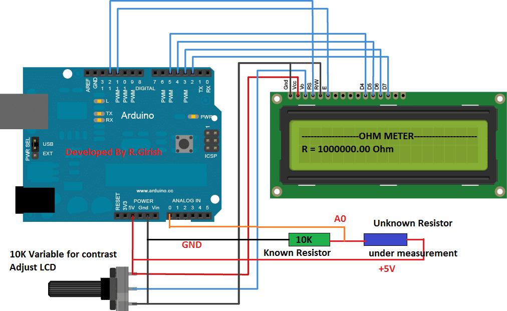 Arduino Ohmmeter Circuit