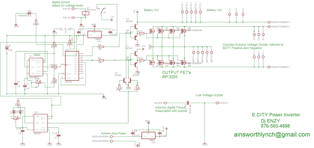 IC 555 Inverter with Arduino Hi/Low Battery Shutdown