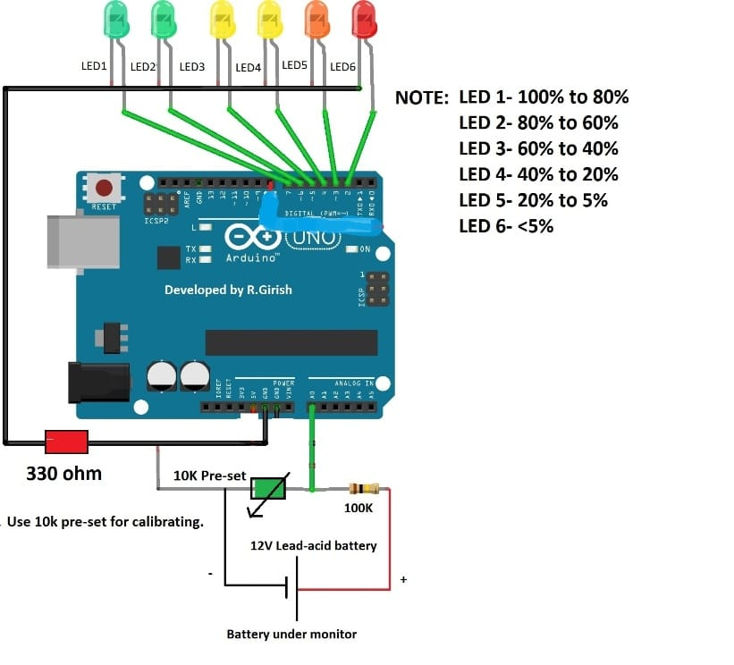 LED battery level indicator using Arduino code