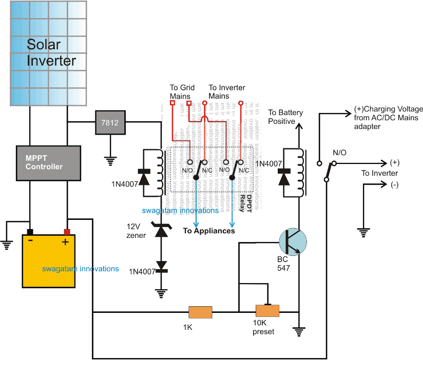 10KVA Solar-Grid Inverter Changeover Circuit with Low Battery Protection