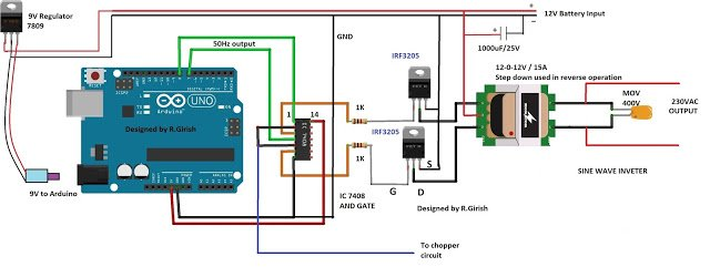 Simple Arduino Sine Wave Inverter Circuit