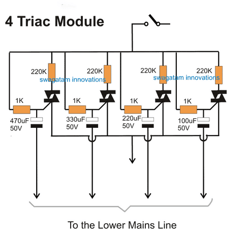referring to the above diagrams, the first diagram shows a standard light  dimmer or a fan dimmer switch circuit using a heavy duty triac bta41a/600
