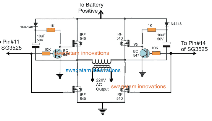 sg3525 full bridge inverter circuit