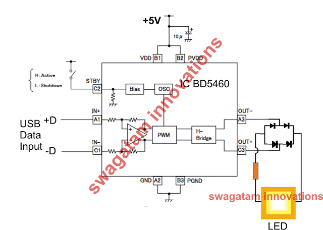 internet LiFi transmitter circuit using class D amplifier circuit