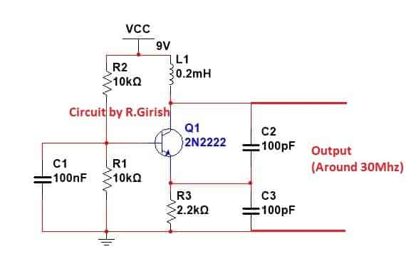 colpitts oscillator circuit which can generate around 30 Mhz signal