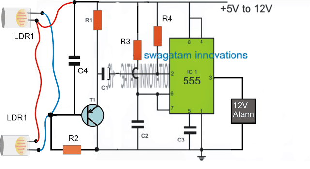 Smart Laser Alarm Protection Circuit using IC 555