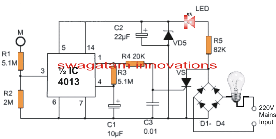 Single IC Touch Activated Lamp Circuit with Delay Timer