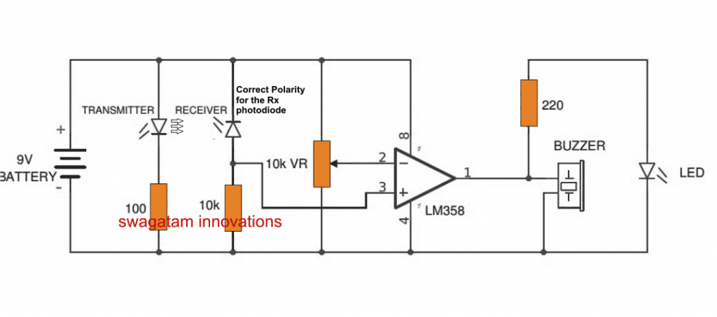 transmitter IR photodiode polarity is correct