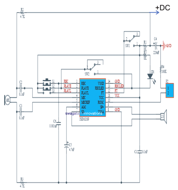 Audio Record/Playback Circuit using IC ISD1820