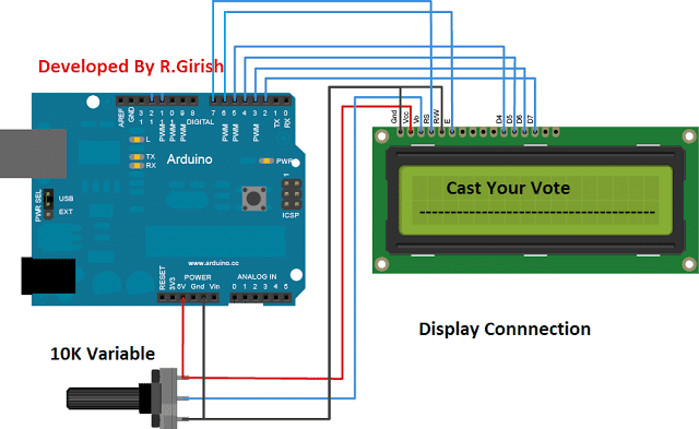 Arduino EVM circuit for displaying connectivity