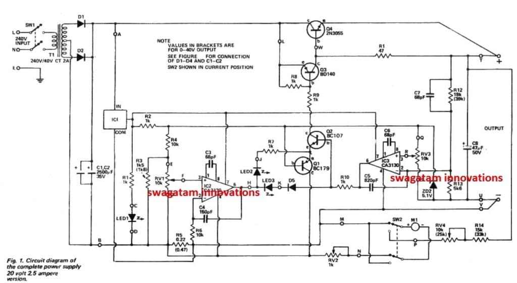 0-40V Adjustable Power Supply Circuit Diagram