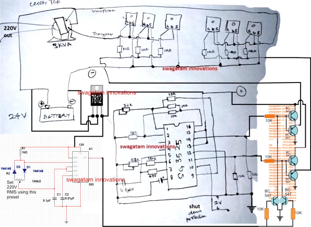 Circuit Diagram Of A 2kva Inverter Complete 1 Kva Design With 50 Hz Sine Oscillator Sinewave 3kva Using Sg3525