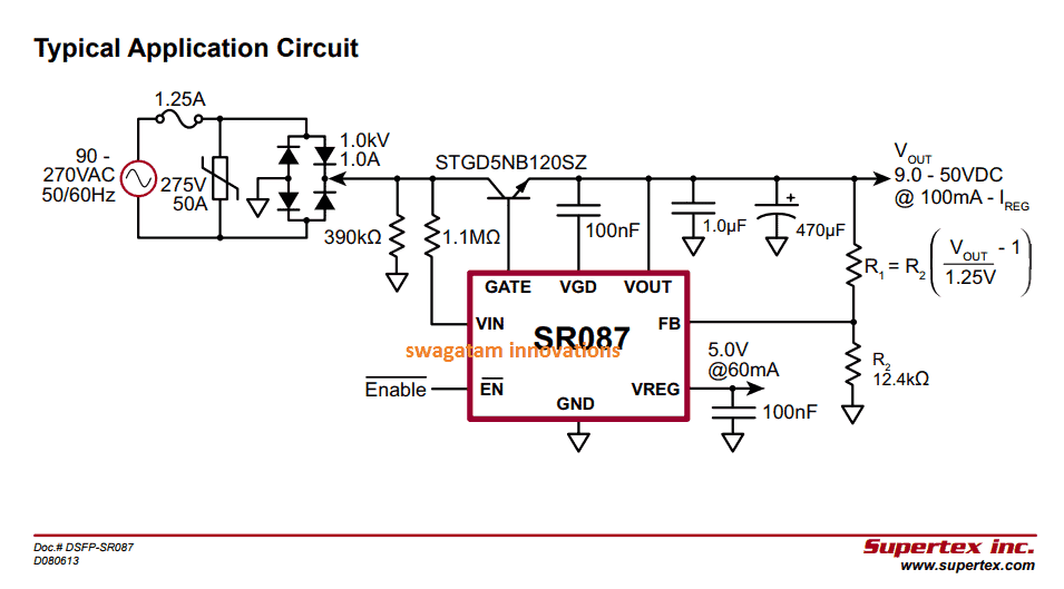 Solid state power supply Circuit using the IC SR087
